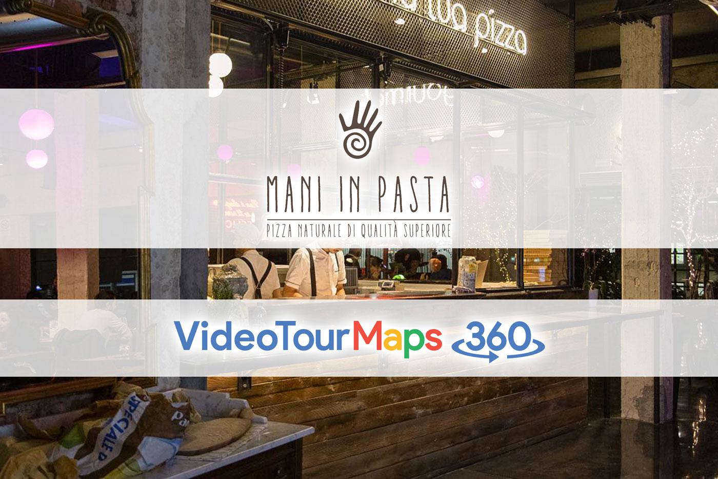 Loghi di VideoTourMaps360 e Pizzeria Mani in Pasta